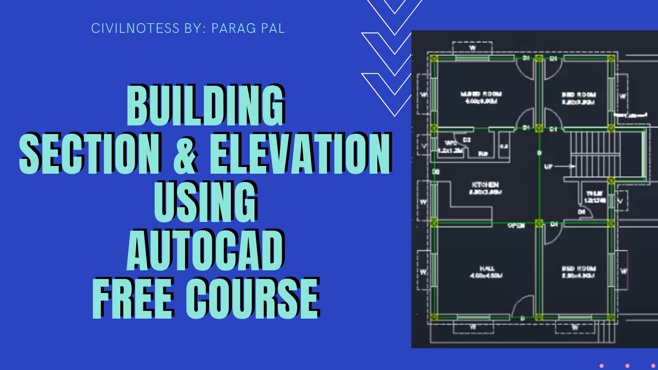 Building plan Section and elevation Using Autocad